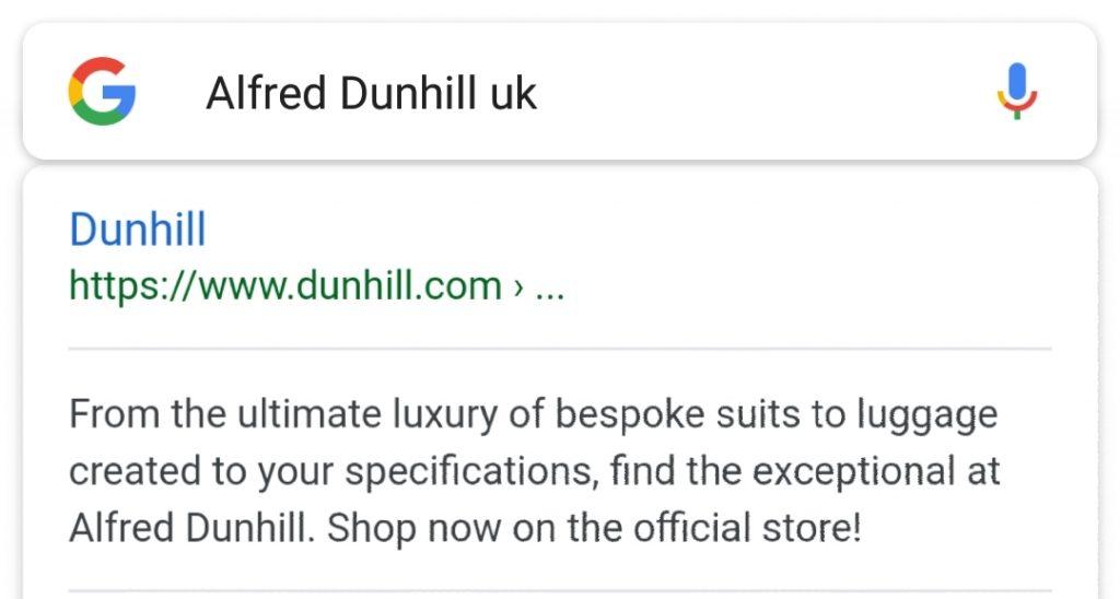 schema markup dunhill uk