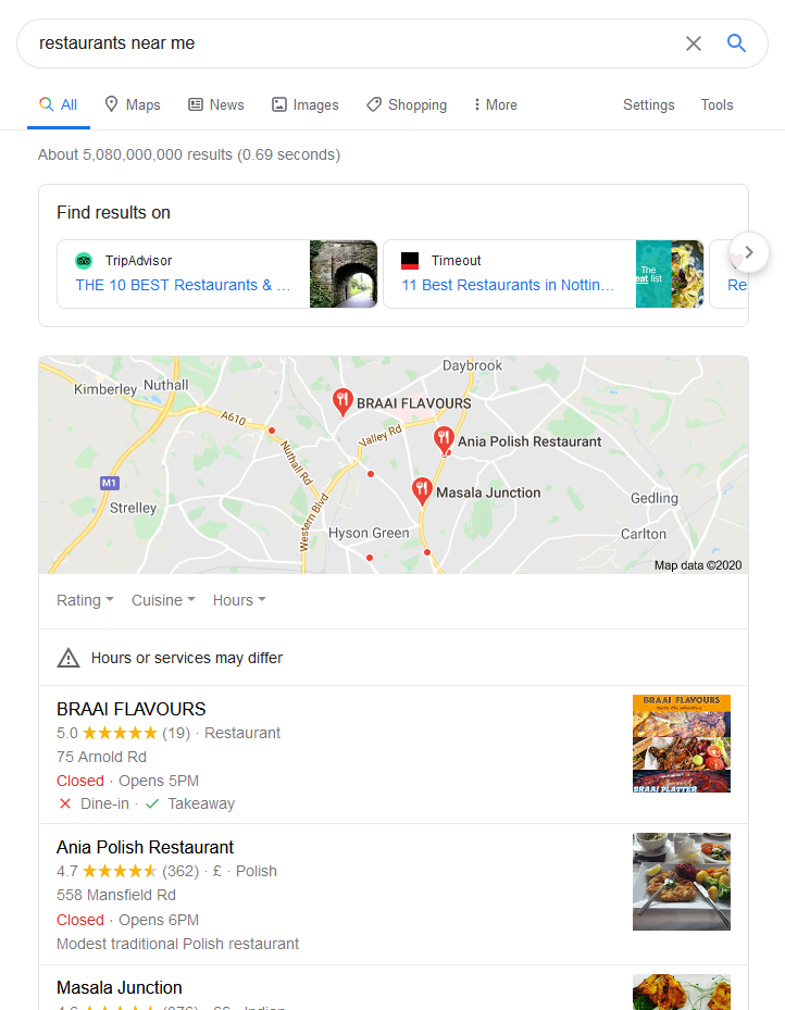 Google nearby businesses
