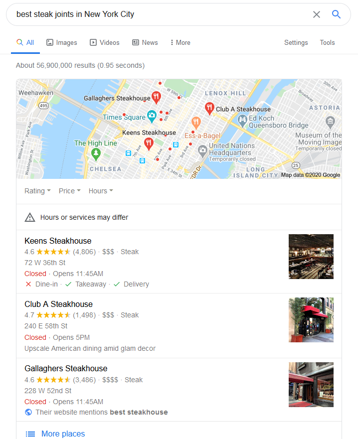 Google ranked locations